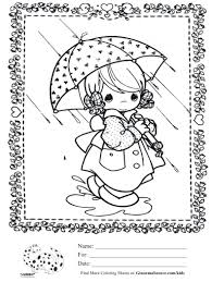 kids coloring page precious moments rainy day with umbrella