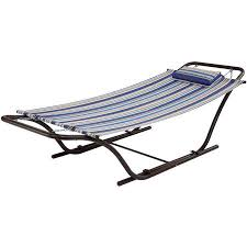 Folding Hammock Chair Mainstays Folding Sling Hammock With Stand Blue Stripe Walmart Com