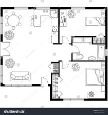 Furniture In The Bathroom Black White Architectural Plan House Layout Stock Vector 513912505