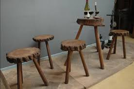 antique small tree trunk wine tasting table and 4 stools