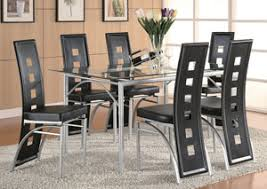 Silver Dining Chairs Beverly Hills Furniture Bronx Ny Table W 6 Black U0026 Silver
