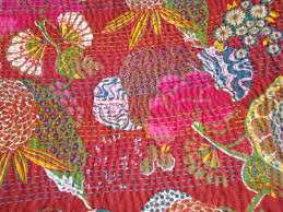 home decor quilt rag bed cover cotton sari kantha within indian