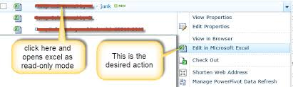 sharepoint 2010 link to open excel file in edit mode mode stack