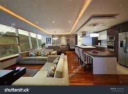 modern kitchen living room ideas interior design big modern living room and kitchen stock photo