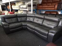 leather corner recliner sofa new ex display langdale grey corner recliner sofa left or right