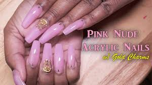 pink acrylic nails w gold charms revisited