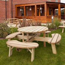heavy duty round picnic table large round wooden picnic table seats 8 wood pub circular picnic bench