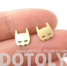 allergy free jewelry batman symbol mask shaped stud earrings in gold allergy free