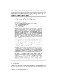 corporate social responsibility reporting a survey of listed sri