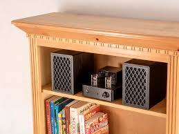 retro bookshelf speakers 4 inch 2 way black pair monoprice com