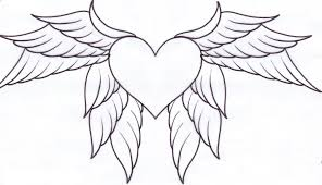coloring pages of hearts with wings and roses within shimosoku biz