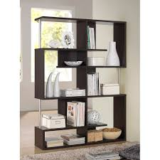 Dark Bookcase Kessler Dark Brown Modern Bookshelf Tall Height Walmart Com