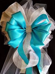 wedding bows beautiful satin and tulle bows with streamers and bling wedding