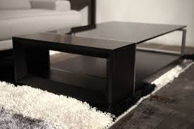 pleasing black wood and glass coffee table for your interior home