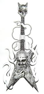 band guitar with skull design photos pictures and