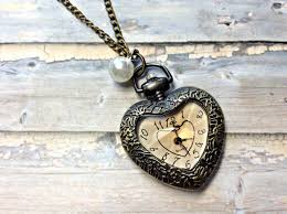 vintage necklace pocket watch images Handmade vintage heart pocket watch necklace with pearl pendant on