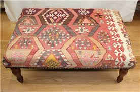 Antique Ottoman Beautiful Woven Antique Turkish Kilim Ottoman Stool Tables 8138