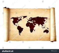 Old World Map Poster by Old Vintage Scroll World Map Isolated Stock Photo 129848786
