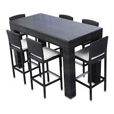 6 Seat Patio Table And Chairs Source Outdoor Bar Height Patio Dining Set Seats 6 Hayneedle