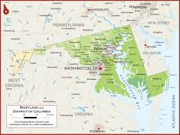 Maryland Usa Map by Maryland Physical State Map