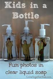 come together kids kid in a liquid soap bottle funny photo idea