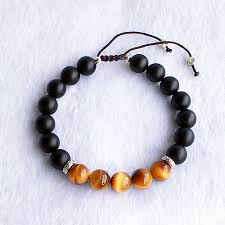 silver bead bracelet with charm images Men 39 s tiger eye and onyx gemstone beaded bracelet jpg