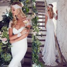 anna campbell cap sleeved mermaid lace hippie wedding dress 2014