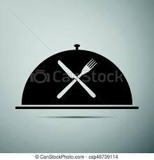 cloche cuisine crossed fork and knife illustration on white background eps