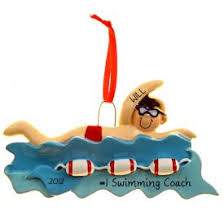 male swimming coach christmas ornament personalized ornaments