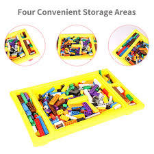 building table with storage burgkidz 3 in 1 table with storage includes 200 pcs building bricks
