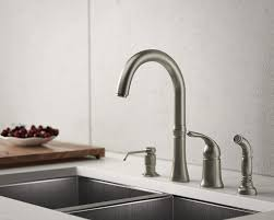 brushed nickel 4 hole kitchen faucet wall mount single handle side