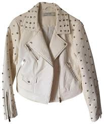 white motorcycle jacket zara white motorcycle leather jacket size 8 m tradesy