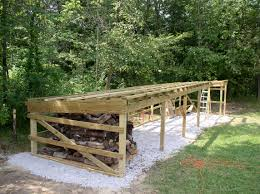 Diy Firewood Rack Plans by Unfinished Backyard Outdoor Firewood Storage Shed With Roof And