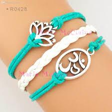 cord bracelet with charm images Wholesale yoga bracelet om charm lotus charm bracelet yoga jpg