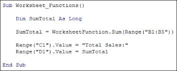 excel vba programming the inbuilt worksheetfunction