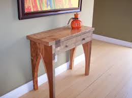 hand made wood hallway table console from used lumber by mc keown