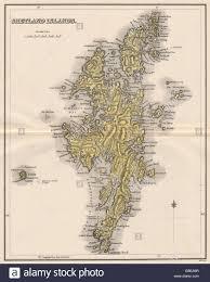 Map Scotland Shetland Islands Antique Map Scotland Lerwick Lizars 1885