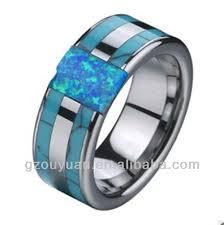 cincin tungsten carbide blue opal inlay tungsten ring blue opal inlay tungsten ring