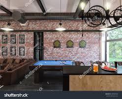 3d illustration interior design loft style stock illustration