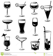 cocktail party icons glass silhouette collection set of stock