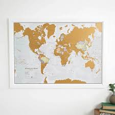 World Map Actual Size Scratch The World Map Print Scratch Off Places You Travel