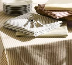 pottery barn table linens vintage ticking stripe tablecloth pottery barn