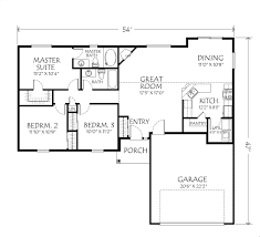 3 Bedroom Floor Plans by Singlestoryopenfloorplans Single Story Plan 3 Bedrooms 2 Intended