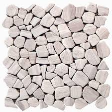 pebble tile natural stone tile the home depot solistone haisa marble 12 in x 12 in x 6 35 mm light natural
