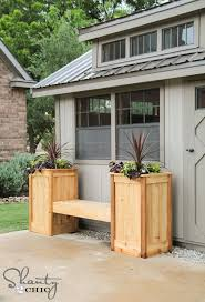 Wood Planter Bench Plans Free by Project Plan Outdoor Bench With Planters Diy Outdoor Projects