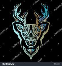 deer head tribal pattern polynesian tattoo stock vector 307212095