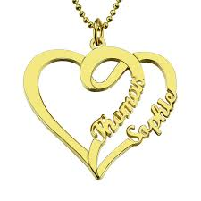 name gold necklace wholesale personalized necklace with two hearts and names gold