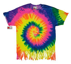 Usa Rainbow Flag Fluorescent Mutli Rainbow Tie Dye Fringe Ladies T Shirt