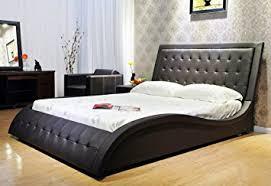 Black Leather Platform Bed Greatime B1136 2 Eastern King Black Wave Like Shape