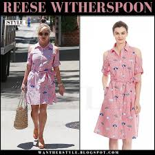 reese witherspoon in pink pinstripe shirtdress in beverly hills on